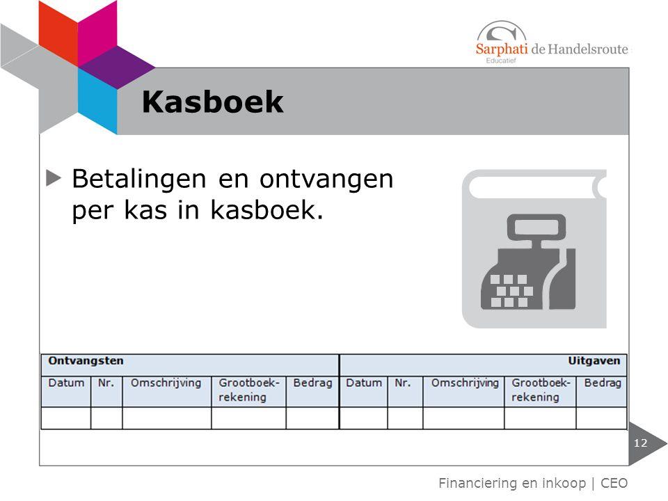 Kasboek Betalingen en ontvangen per kas in kasboek.