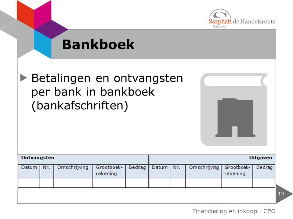 Bankboek Betalingen en ontvangsten per bank in bankboek (bankafschriften) Financiering en inkoop | CEO.
