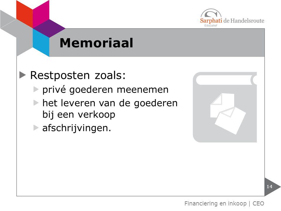 Memoriaal Restposten zoals: privé goederen meenemen