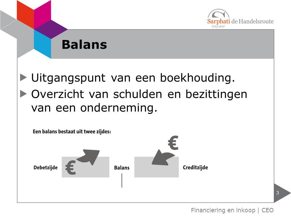 Balans Uitgangspunt van een boekhouding.