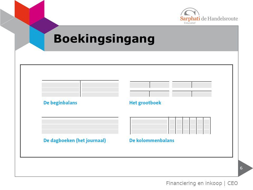 Boekingsingang Financiering en inkoop | CEO