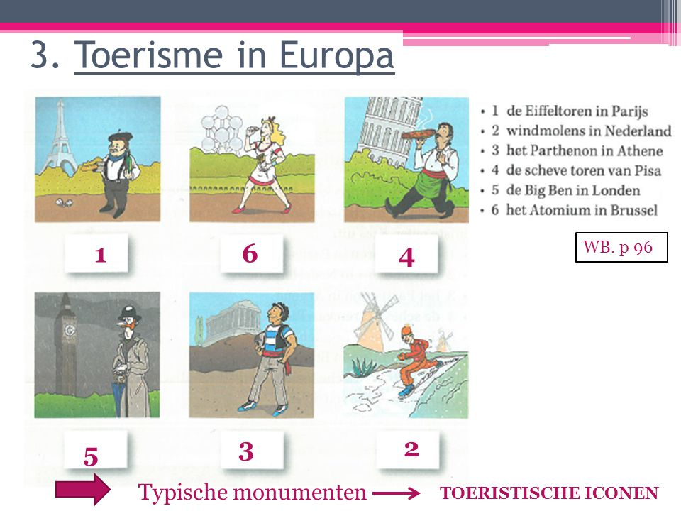 3. Toerisme in Europa 1 6 4 3 2 5 Typische monumenten WB. p 96