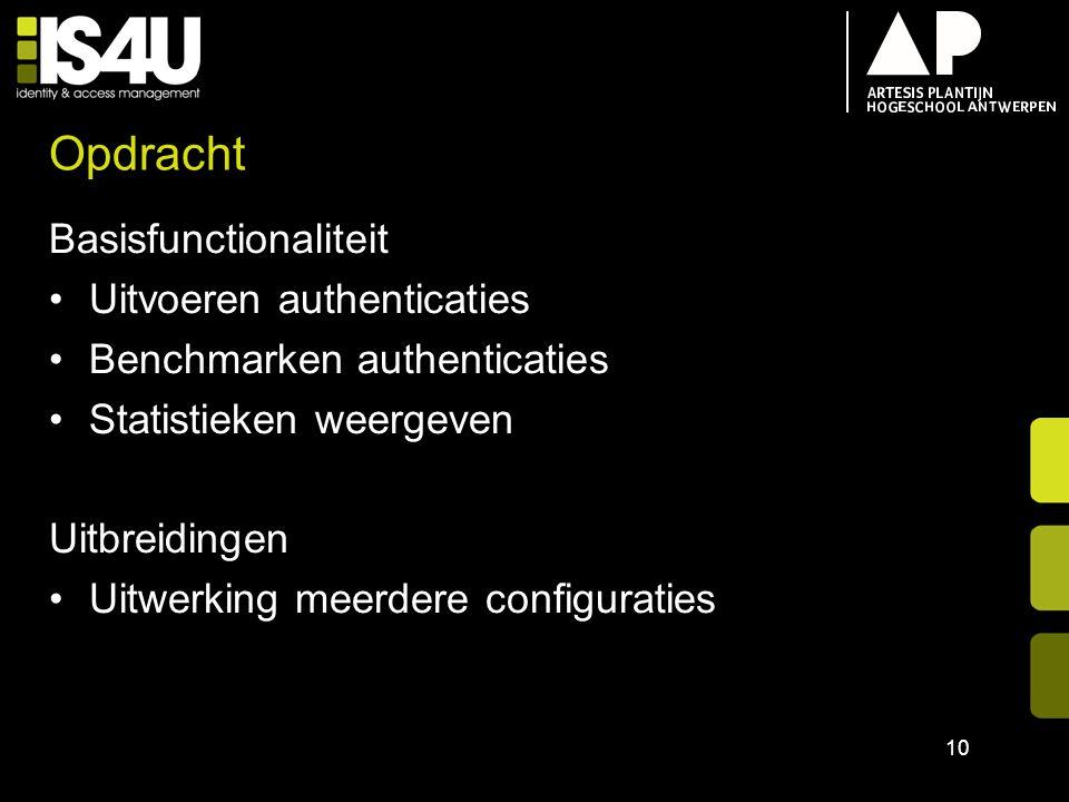 Opdracht Basisfunctionaliteit Uitvoeren authenticaties