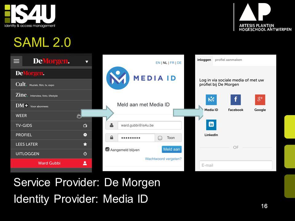 SAML 2.0 Service Provider: De Morgen Identity Provider: Media ID