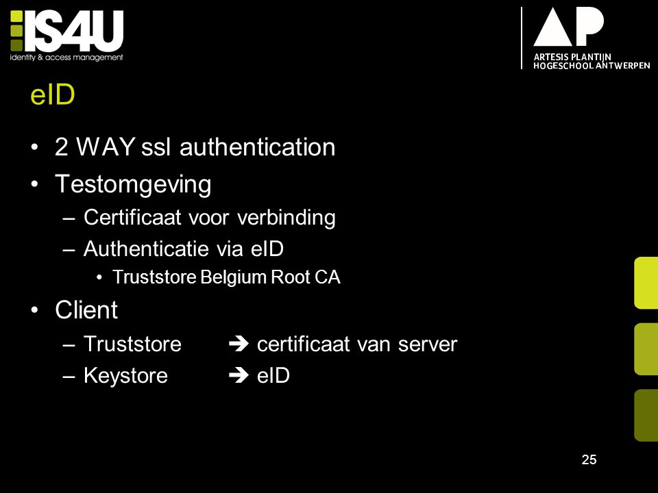 eID 2 WAY ssl authentication Testomgeving Client