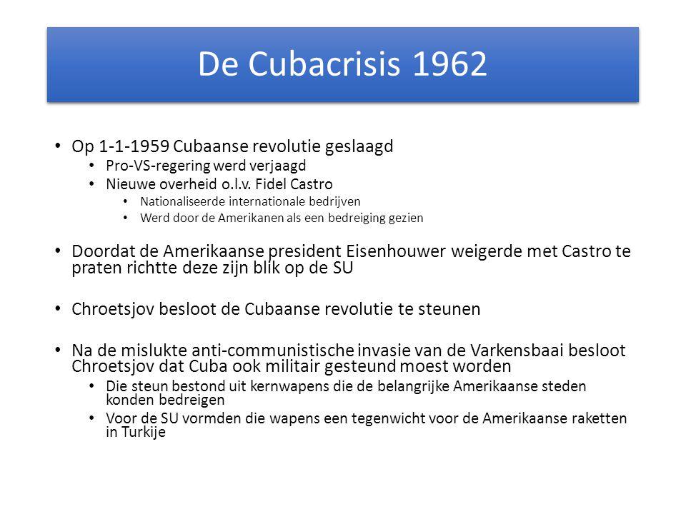 De Cubacrisis 1962 Op 1-1-1959 Cubaanse revolutie geslaagd