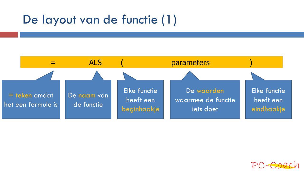 De layout van de functie (1)