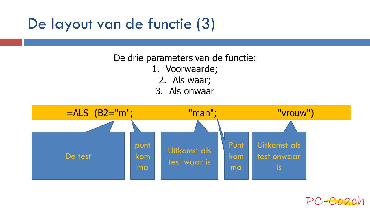 De layout van de functie (3)
