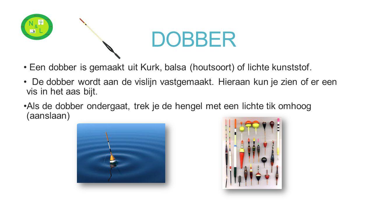 DOBBER Een dobber is gemaakt uit Kurk, balsa (houtsoort) of lichte kunststof.