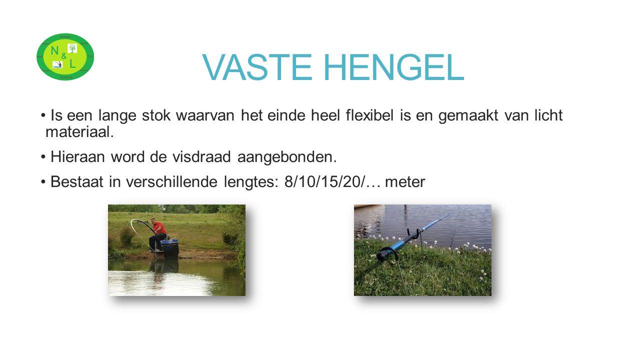 VASTE HENGEL Is een lange stok waarvan het einde heel flexibel is en gemaakt van licht materiaal. Hieraan word de visdraad aangebonden.