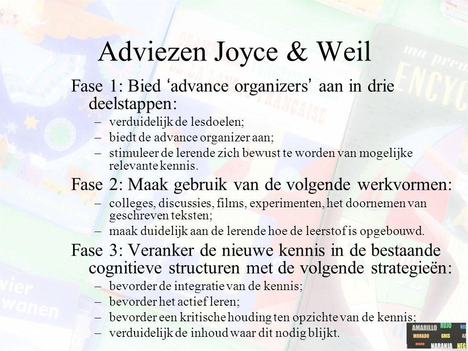 Adviezen Joyce & Weil Fase 1: Bied 'advance organizers' aan in drie deelstappen: verduidelijk de lesdoelen;