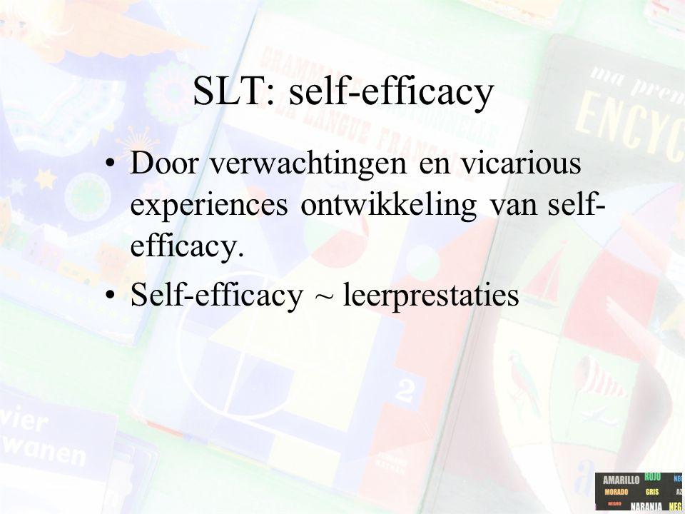 SLT: self-efficacy Door verwachtingen en vicarious experiences ontwikkeling van self-efficacy.