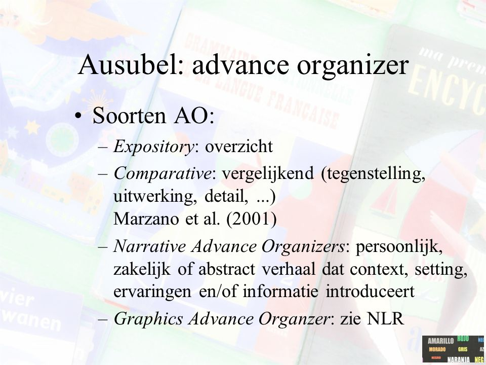 Ausubel: advance organizer