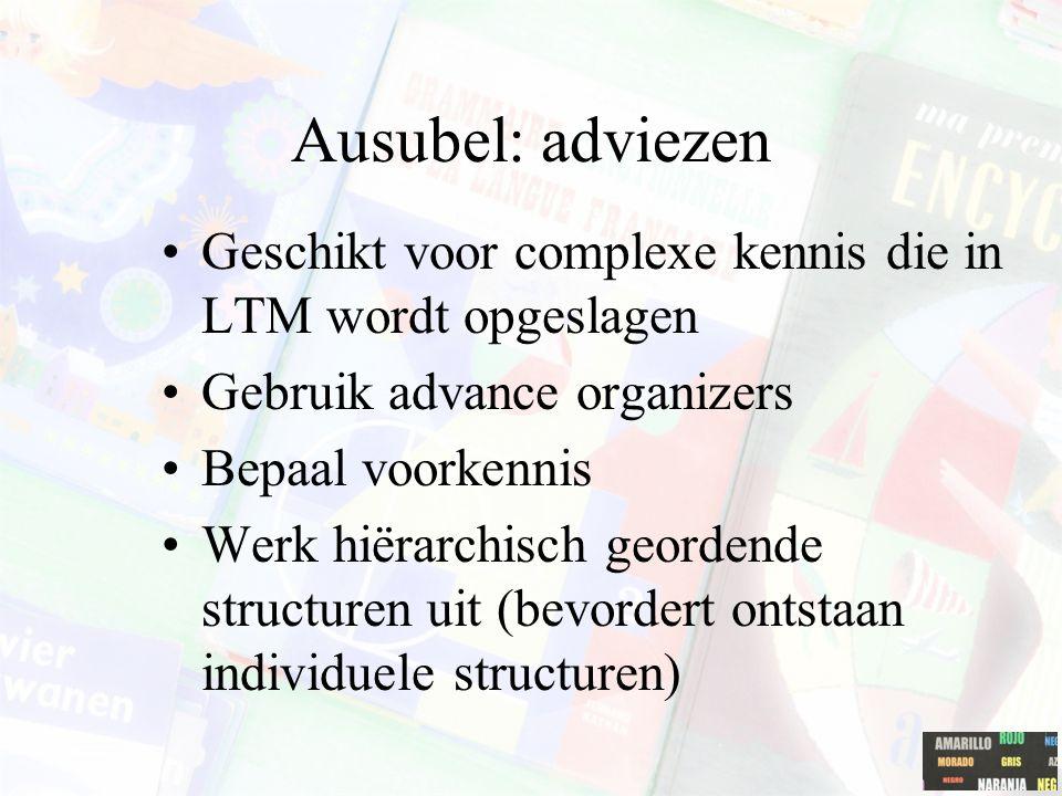 Ausubel: adviezen Geschikt voor complexe kennis die in LTM wordt opgeslagen. Gebruik advance organizers.