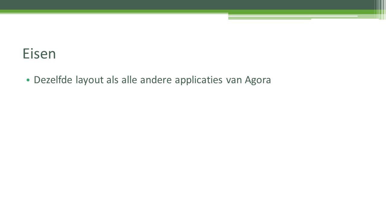 Eisen Dezelfde layout als alle andere applicaties van Agora
