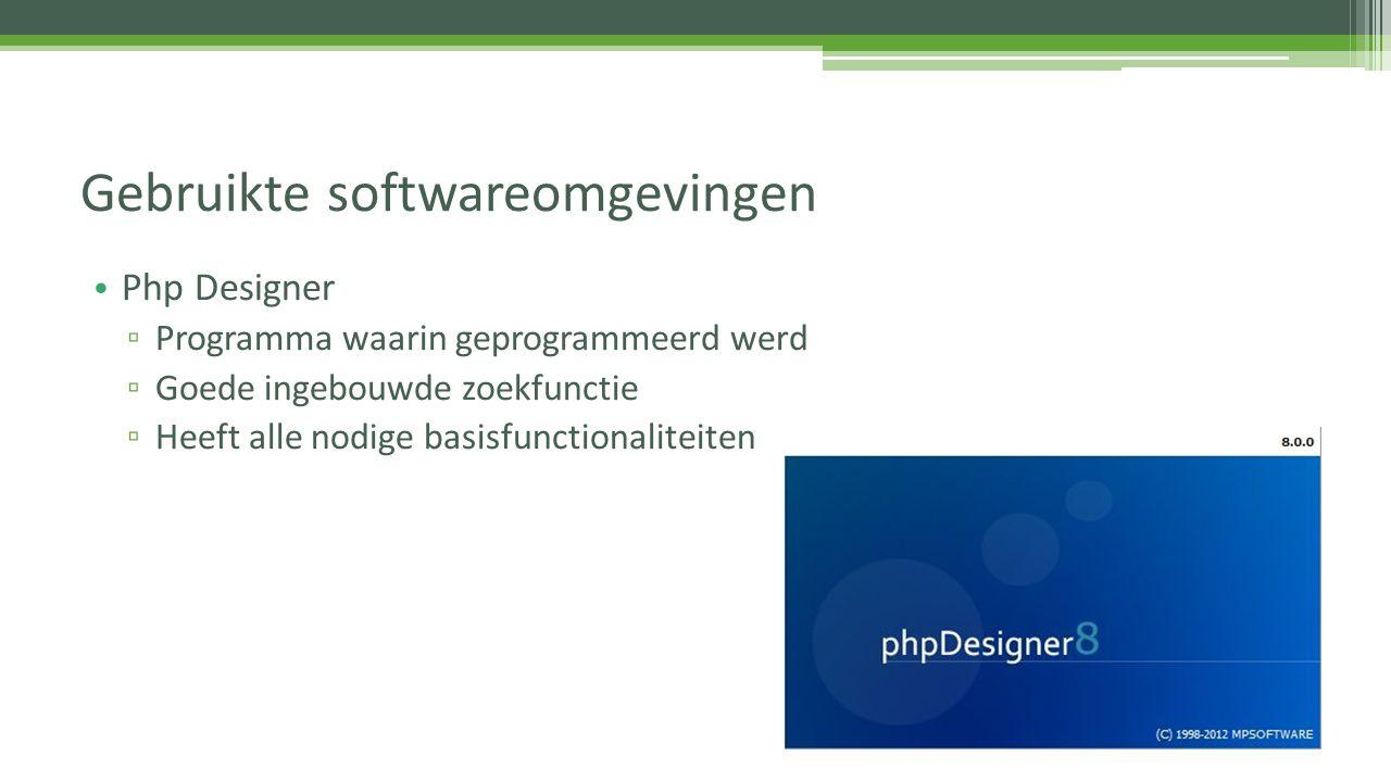Gebruikte softwareomgevingen