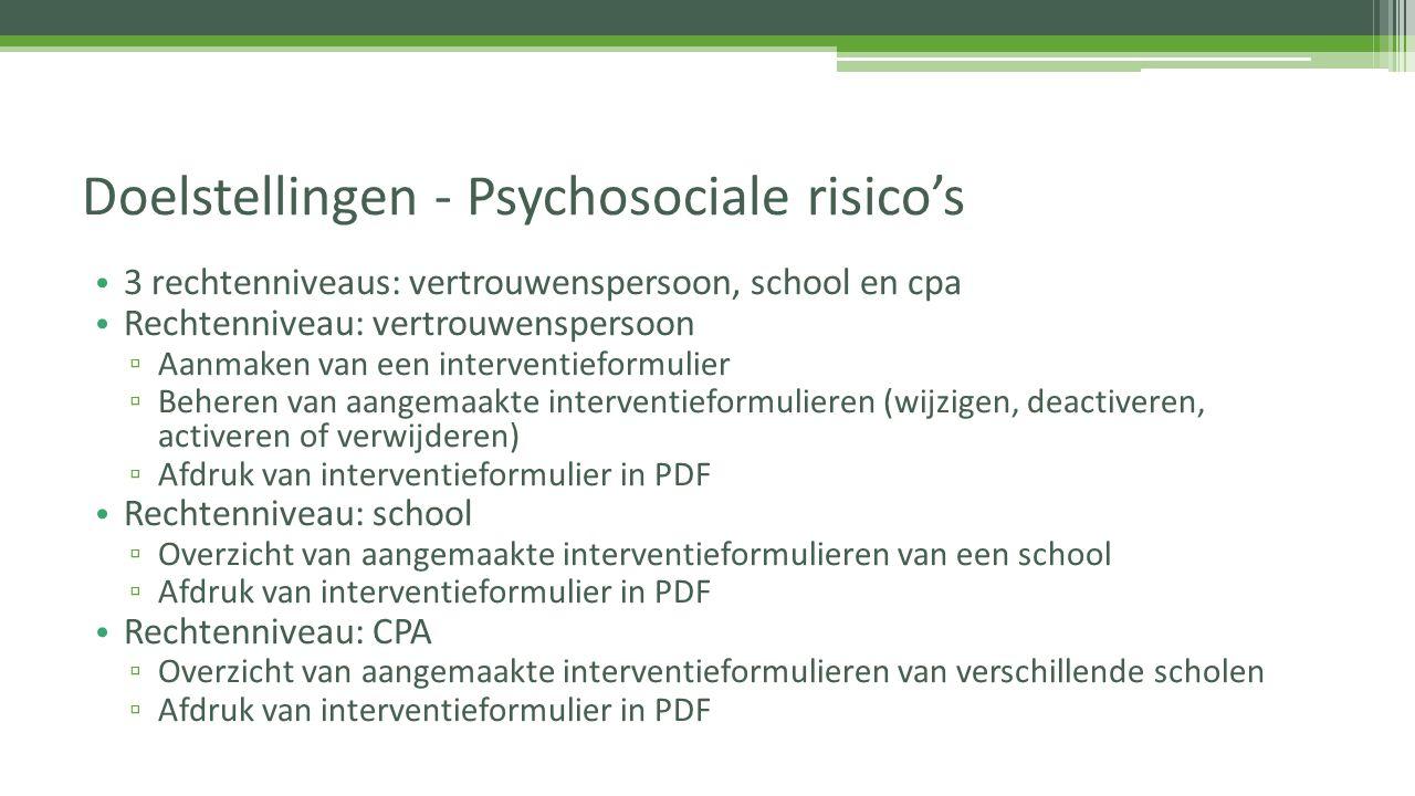 Doelstellingen - Psychosociale risico's