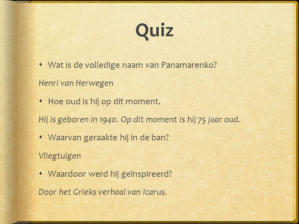 Quiz Wat is de volledige naam van Panamarenko Henri van Herwegen