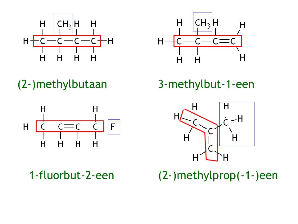 (2-)methylbutaan 3-methylbut-1-een 1-fluorbut-2-een (2-)methylprop(-1-)een