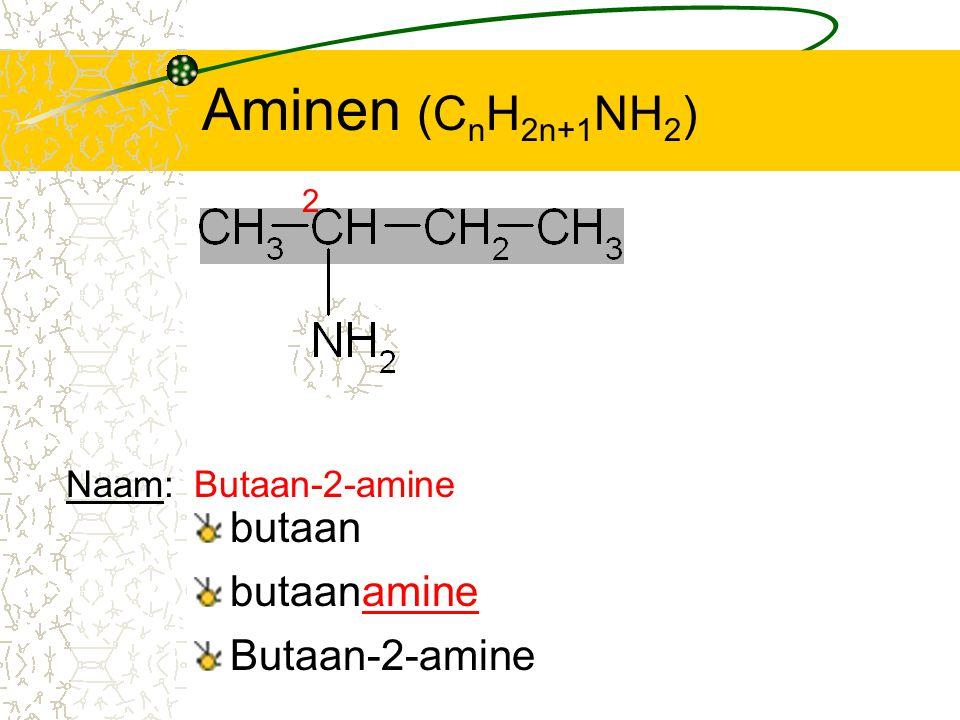 Aminen (CnH2n+1NH2) butaan butaanamine Butaan-2-amine Naam: