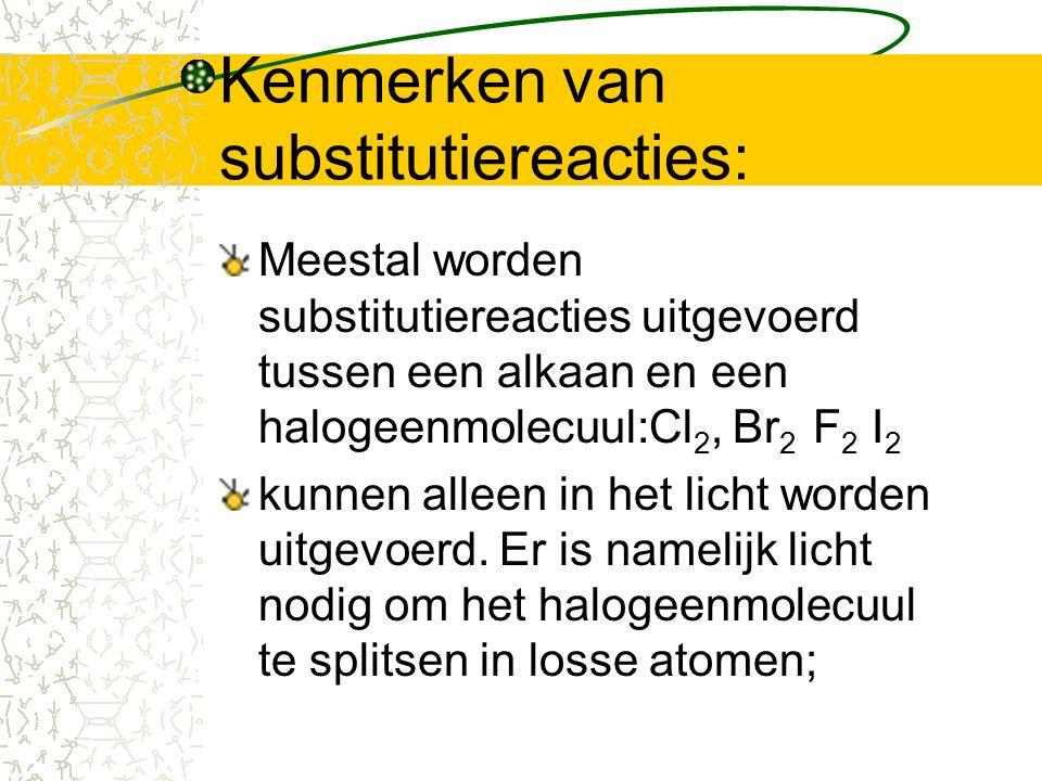 Kenmerken van substitutiereacties: