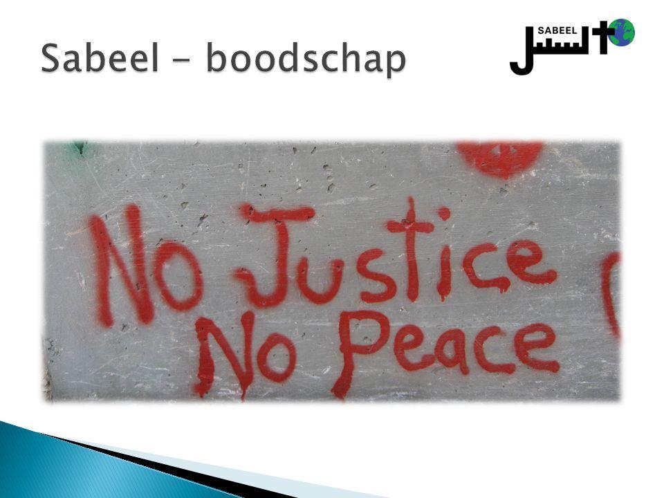 Sabeel - boodschap Zie Naim Ateek, A Palestinian Christian Cry for Reconciliation, p. 13-14. Werkterreinen Sabeel.