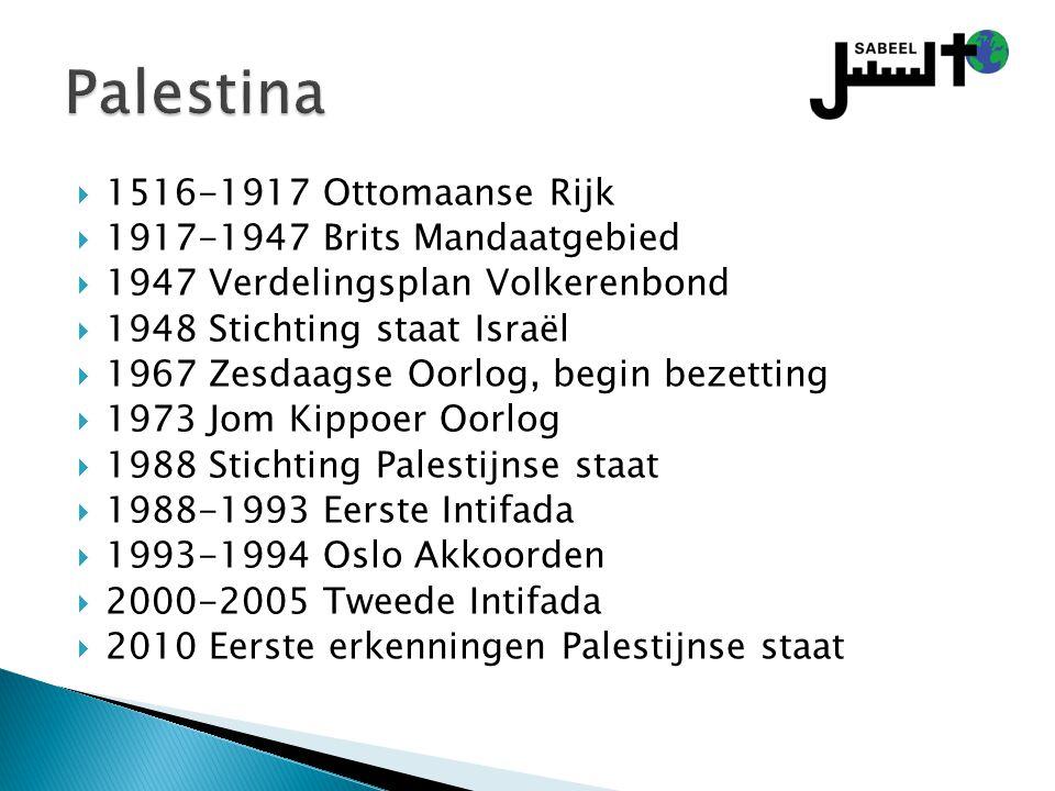 Palestina 1516-1917 Ottomaanse Rijk 1917-1947 Brits Mandaatgebied