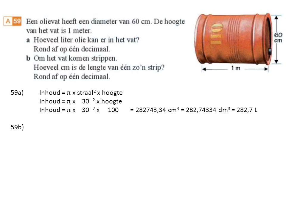 59a) Inhoud = π x straal2 x hoogte