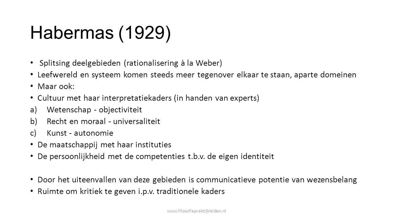 Habermas (1929) Splitsing deelgebieden (rationalisering à la Weber)