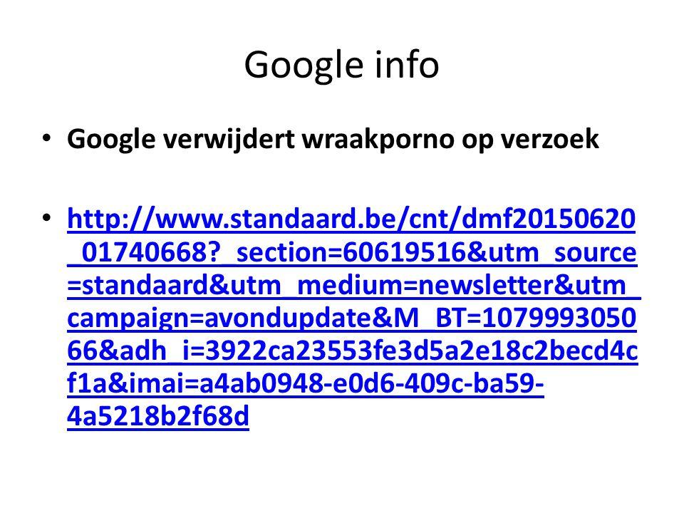 Google info Google verwijdert wraakporno op verzoek