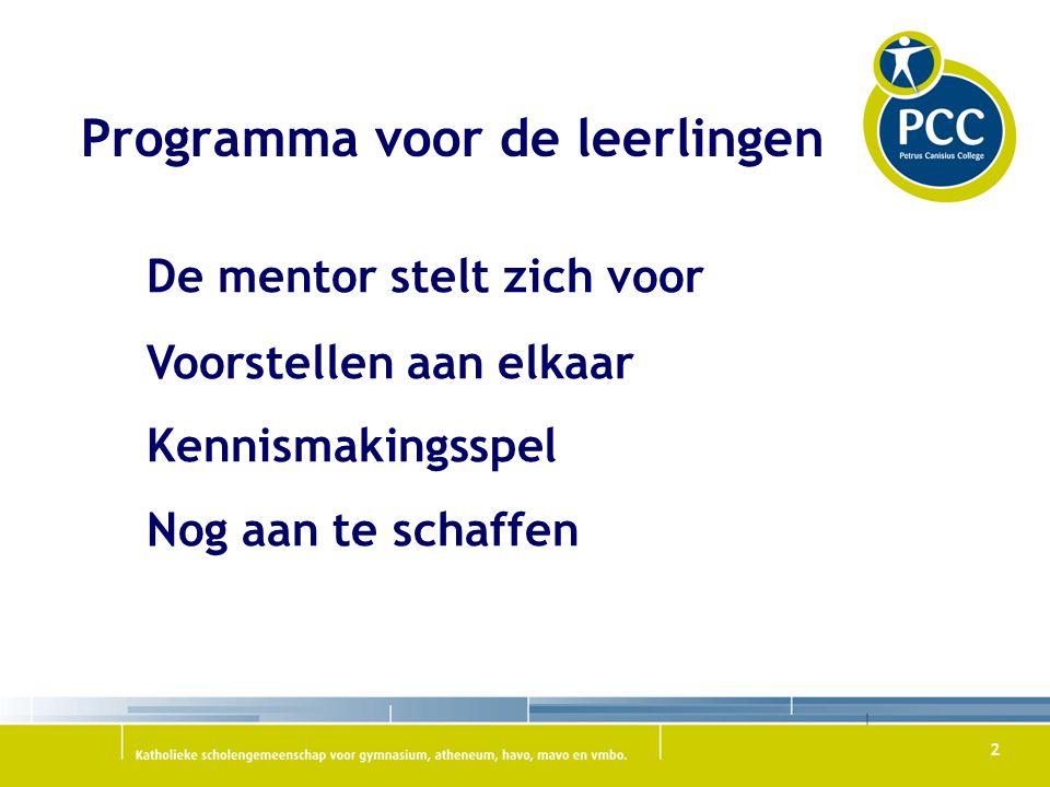 Programma voor de leerlingen