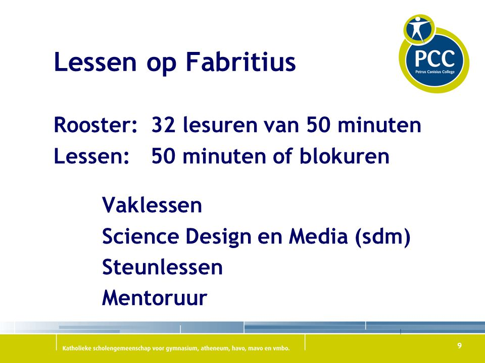 Lessen op Fabritius Rooster: 32 lesuren van 50 minuten