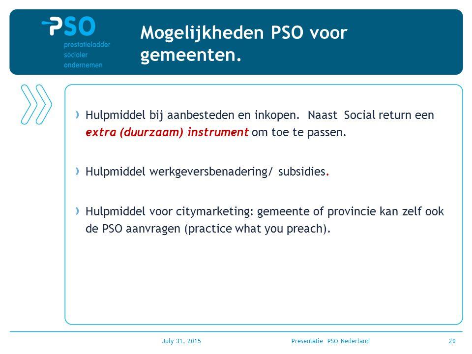Mogelijkheden PSO voor gemeenten.