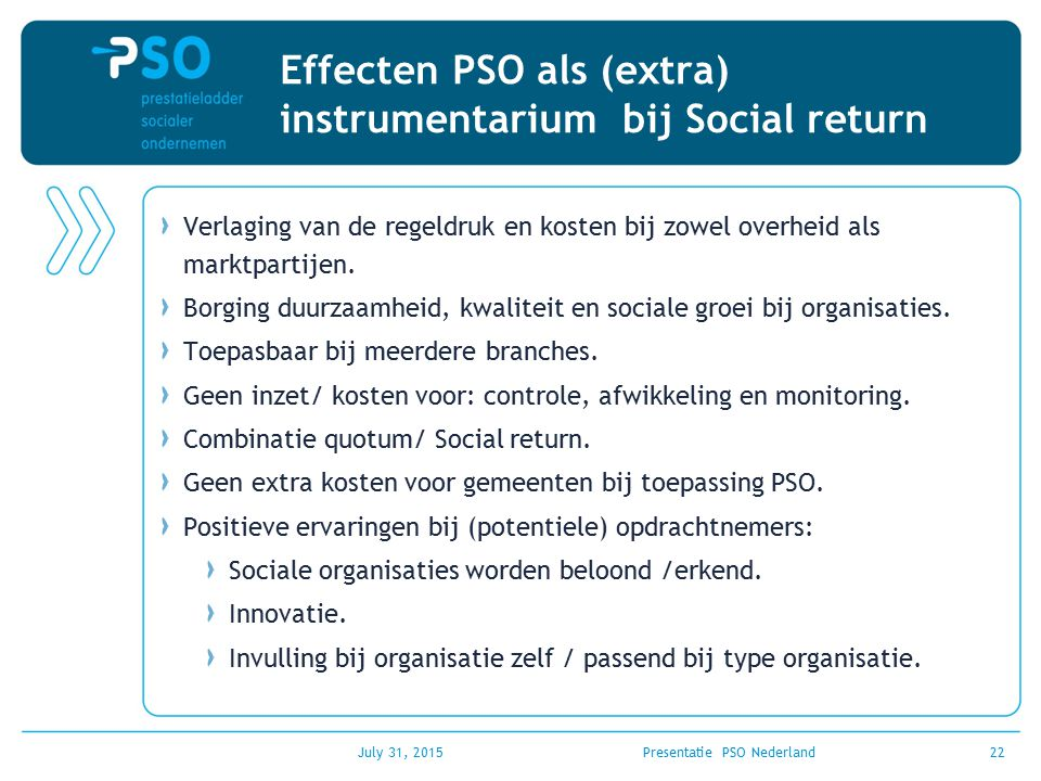 Effecten PSO als (extra) instrumentarium bij Social return