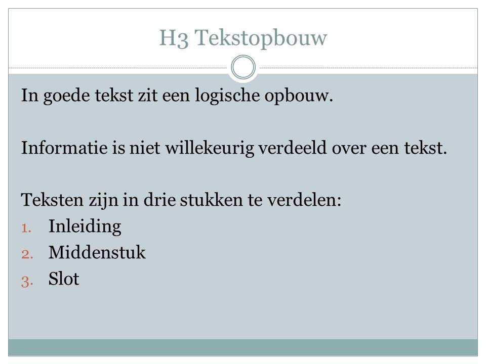 H3 Tekstopbouw In goede tekst zit een logische opbouw.
