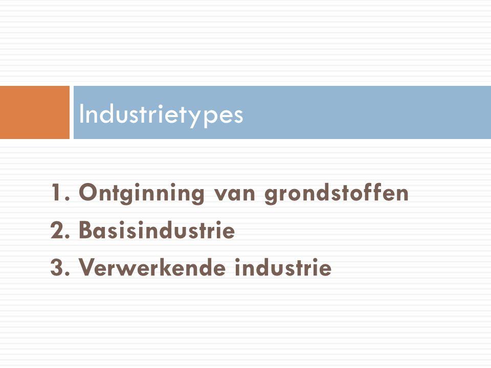 Industrietypes 1. Ontginning van grondstoffen 2. Basisindustrie