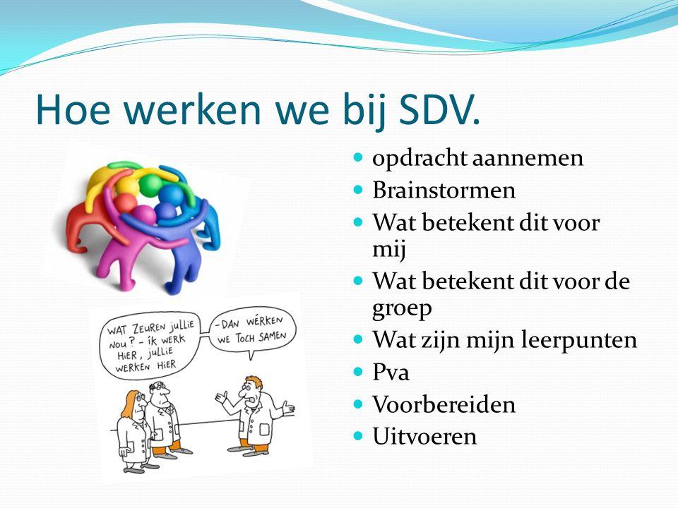 Hoe werken we bij SDV. opdracht aannemen Brainstormen