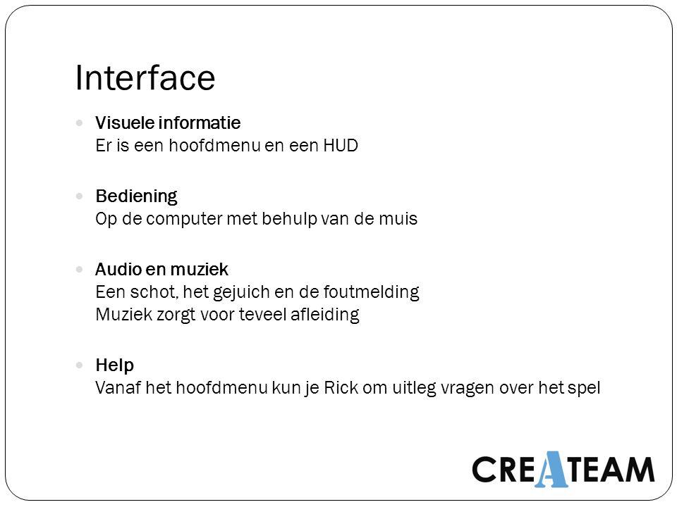 Interface Visuele informatie Er is een hoofdmenu en een HUD