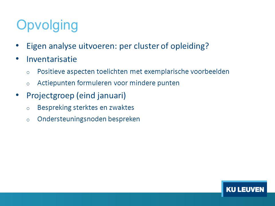 Opvolging Eigen analyse uitvoeren: per cluster of opleiding