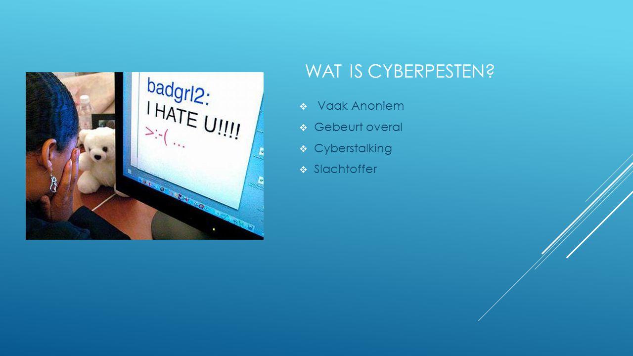 WAT IS CYBERPESTEN Vaak Anoniem Gebeurt overal Cyberstalking