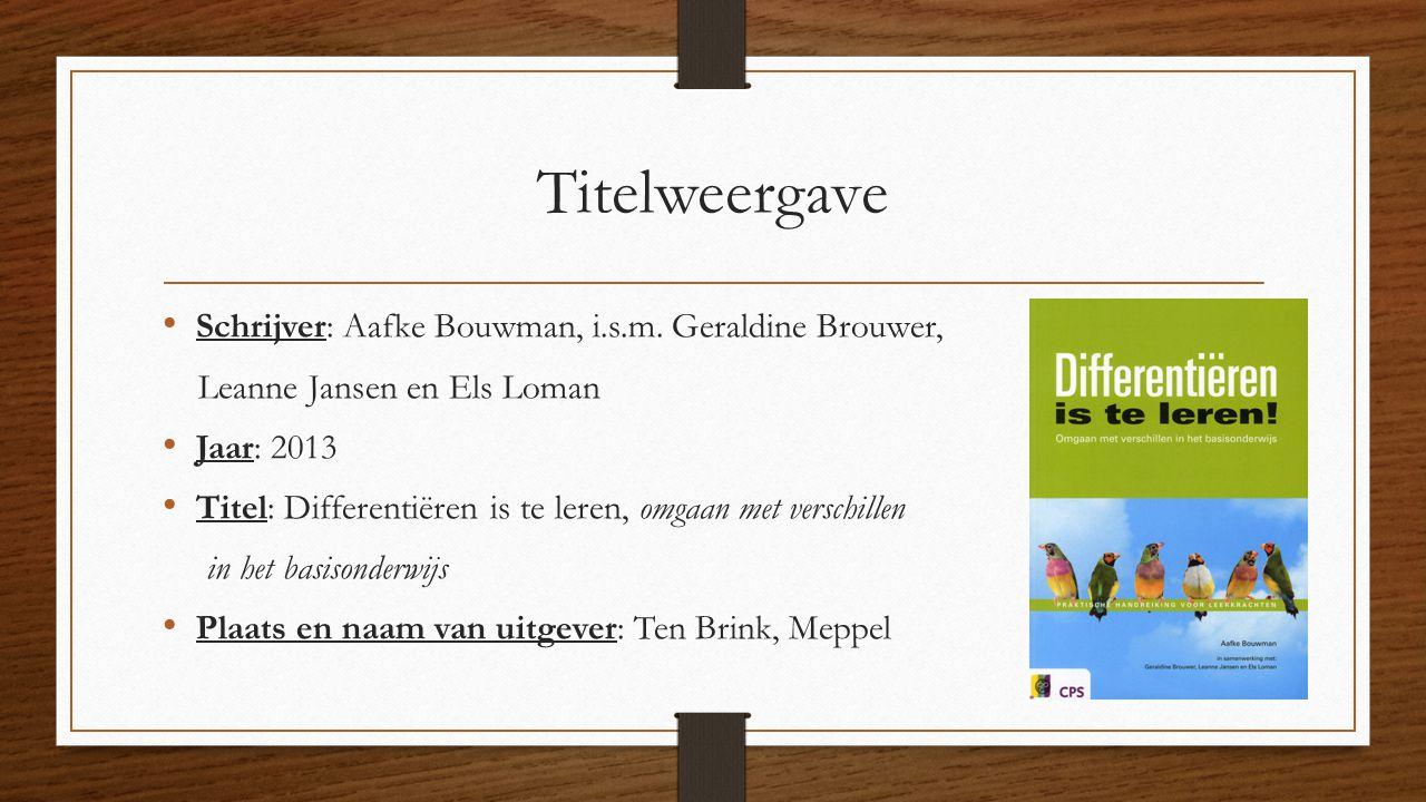 Titelweergave Schrijver: Aafke Bouwman, i.s.m. Geraldine Brouwer,