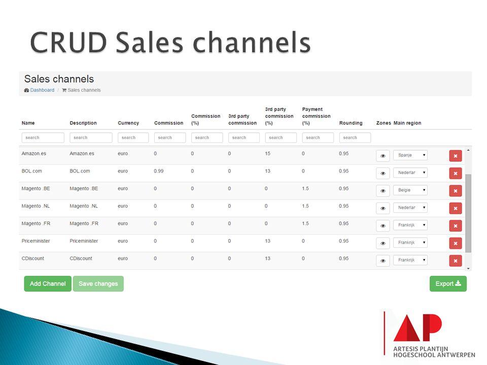 CRUD Sales channels
