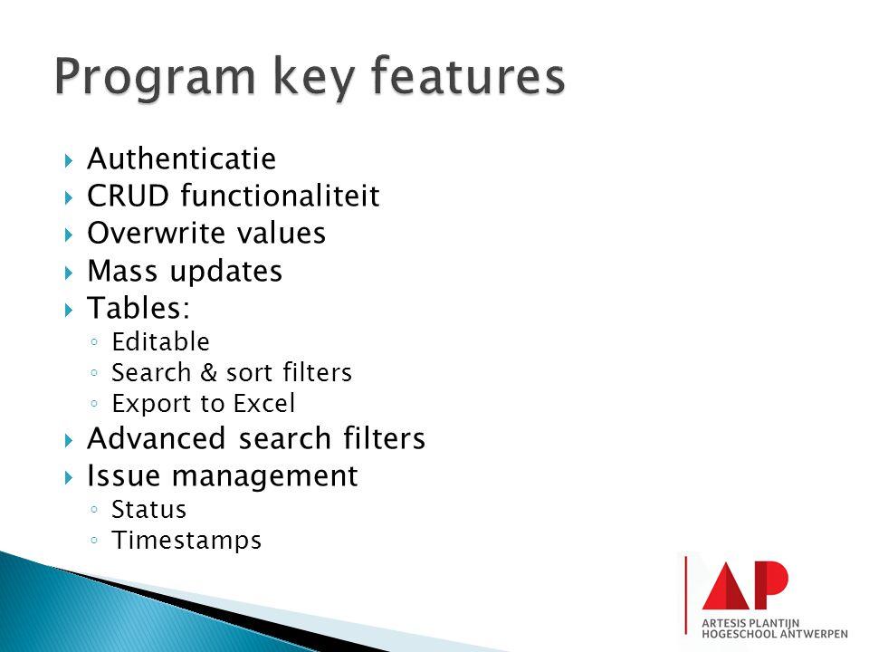 Program key features Authenticatie CRUD functionaliteit