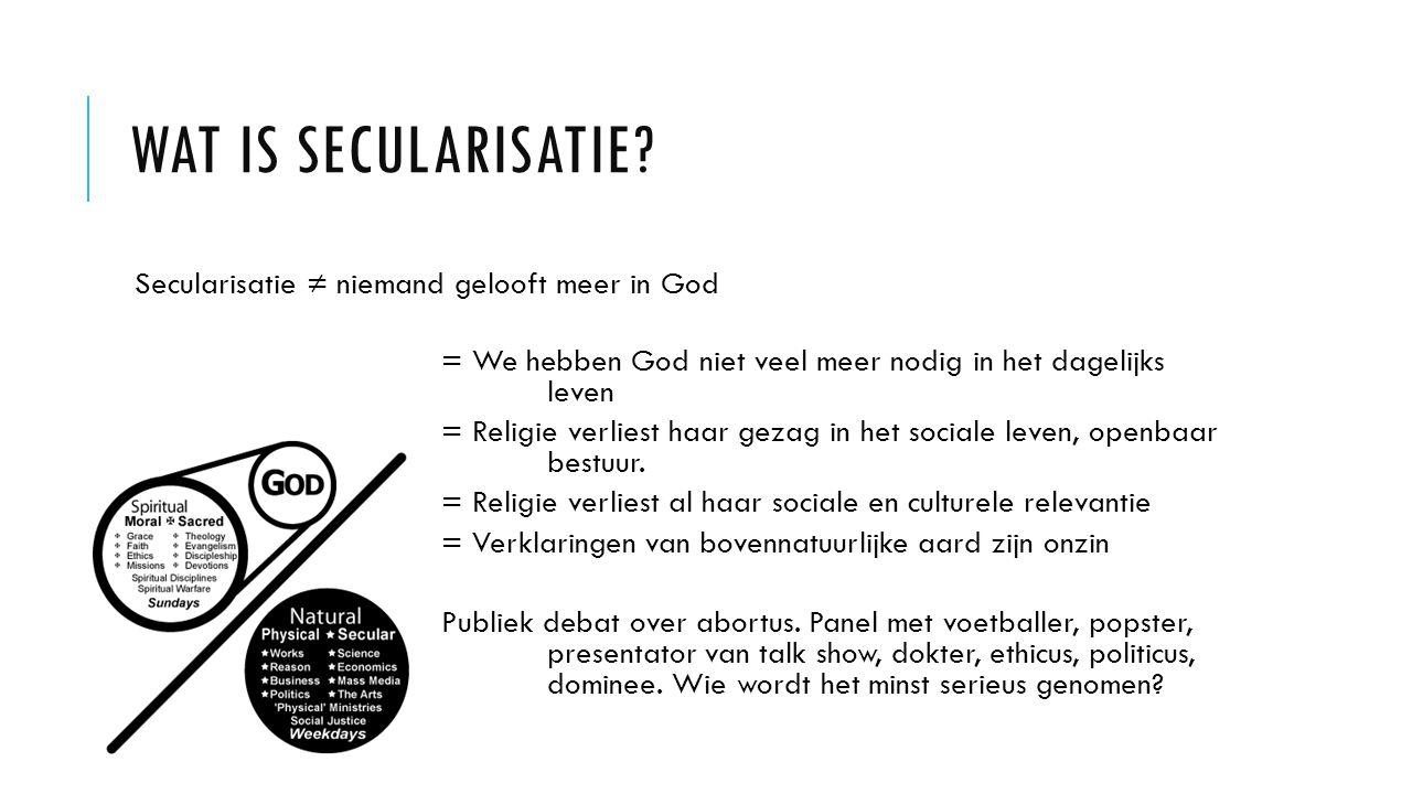 Wat is secularisatie Secularisatie ≠ niemand gelooft meer in God