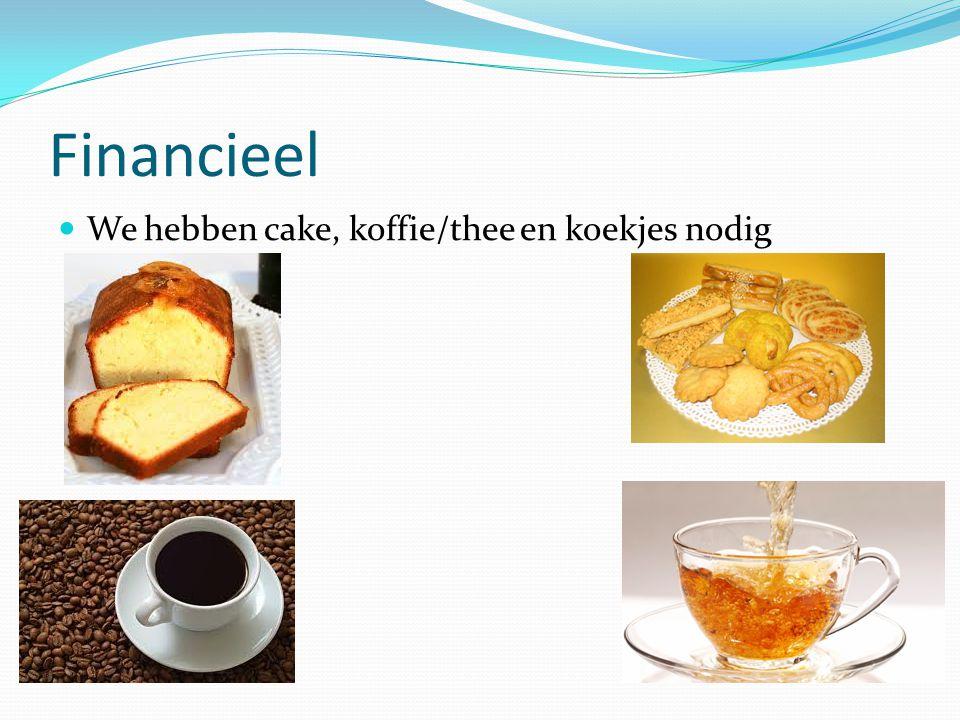 Financieel We hebben cake, koffie/thee en koekjes nodig