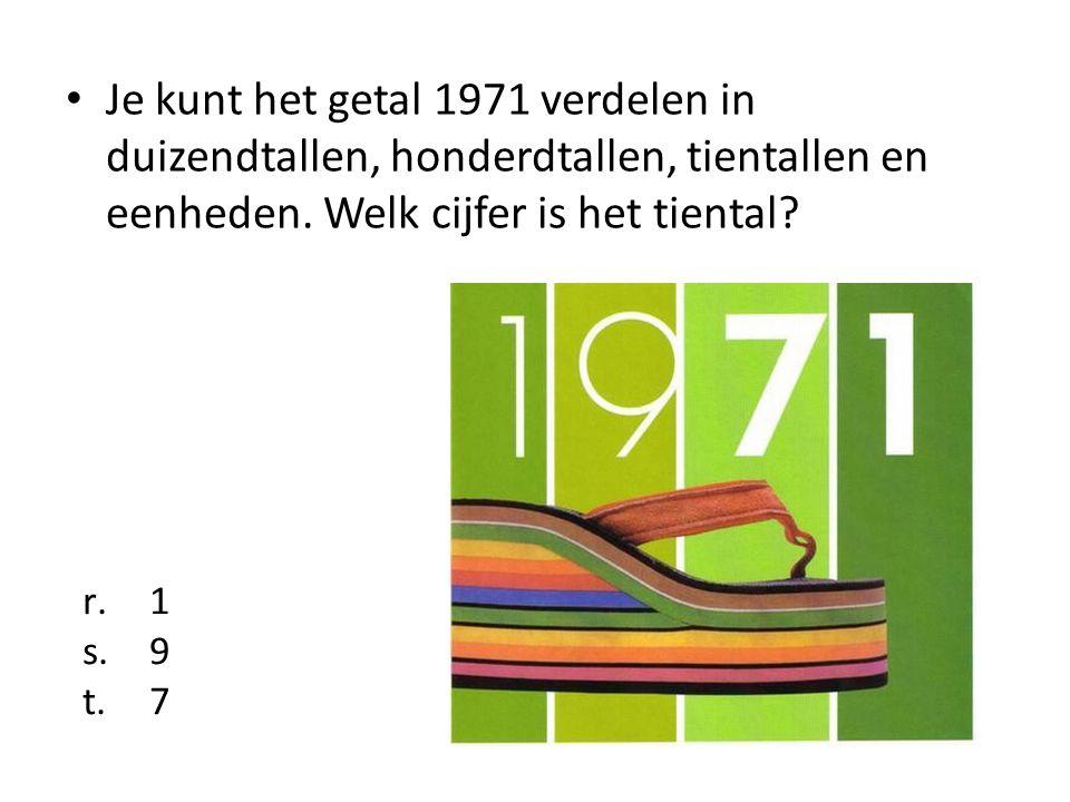 Je kunt het getal 1971 verdelen in duizendtallen, honderdtallen, tientallen en eenheden. Welk cijfer is het tiental