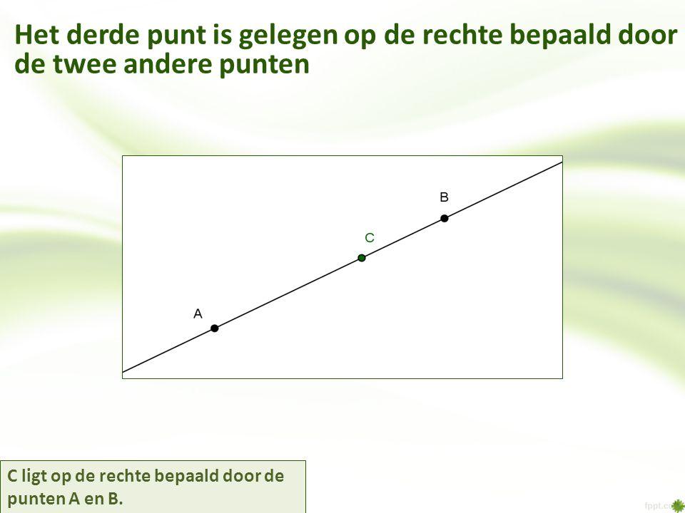 Het derde punt is gelegen op de rechte bepaald door de twee andere punten