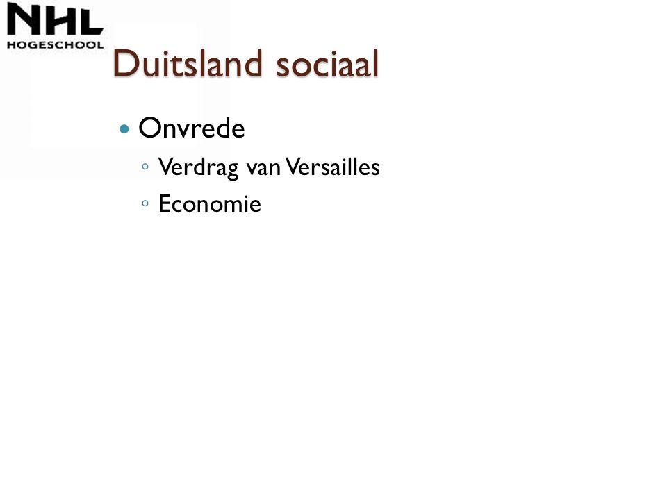 Duitsland sociaal Onvrede Verdrag van Versailles Economie