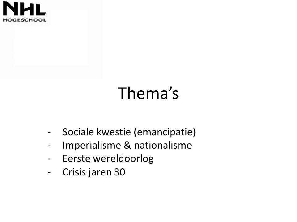 Thema's Sociale kwestie (emancipatie) Imperialisme & nationalisme