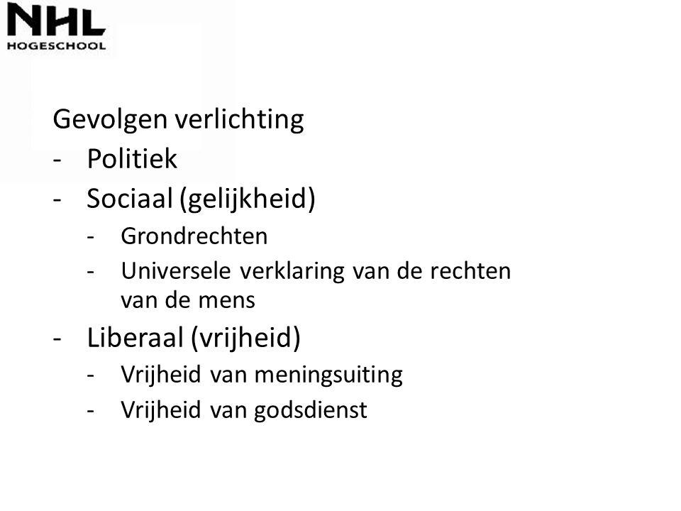 Gevolgen verlichting Politiek Sociaal (gelijkheid) Liberaal (vrijheid)